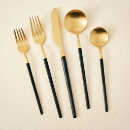 5pc Stainless Steel Silverware Set Black/Gold - Opalhouse™ designed with Jungalow™   Target