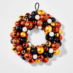 Shatterproof Pumpkin Halloween Wreath Orange/Black - Hyde & EEK! Boutique™ | Target