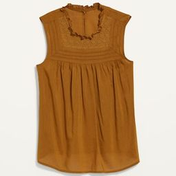 Ruffled Lace-Trim Sleeveless Blouse for Women | Old Navy (US)