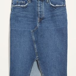 Higher High-Waisted Button-Fly Cut-Off Jean Pencil Skirt | Old Navy (US)