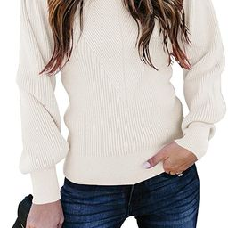 Huiyuzhi Womens Puff Sleeve Pullover Sweaters Crew Neck Soft Slim Fit Solid Color Knitted Jumper | Amazon (US)