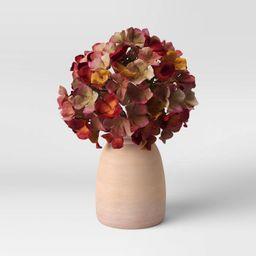 "10.5"" x 8.5"" Artificial Purple Hydrangea Plant Arrangement in Ceramic Pot - Threshold&#84... | Target"