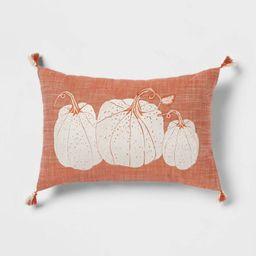 Embroidered Pumpkins Lumbar Throw Pillow Orange - Threshold™ | Target