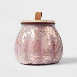 15oz Lidded Pumpkin Glass Jar Spiced Apple Cider Red Marsala Candle - Threshold™ | Target