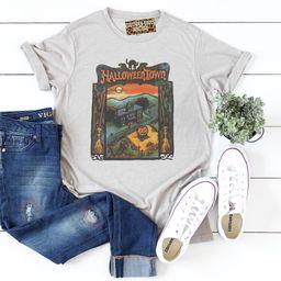 Halloween-town  on gray crew neck T-shirt/ vintage faded look tees/ Halloween shirt/ fall shirt/ ... | Etsy (US)