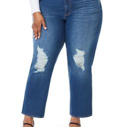 Sofia Jeans by Sofia Vergara Plus Size Leslie Destructed High-Rise Slim Straight Jeans - Walmart.... | Walmart (US)