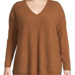 Terra & Sky Women's Plus Size Brushed V-Neck Sweater - Walmart.com | Walmart (US)