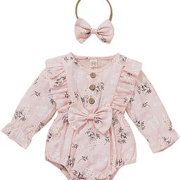Baby Girls Floral Playsuits Ruffled Bodysuit+Headband Long Sleeve Knitted Romper Floral Jumpsuit ...   Amazon (US)