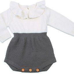 Urkutoba Baby Girls Romper Knitted Ruffle Long Sleeve Jumpsuit Baby Kids Girl Romper Autumn Winte...   Amazon (US)