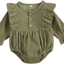 Mubineo Infant Baby Girl Corduroy Basic Plain Ruffle Long Sleeve Romper Tops Clothes   Amazon (US)