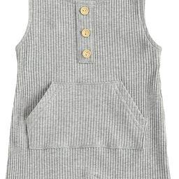 Mubineo Newborn Baby Boy Girl Basic Plain Sleeveless Cotton Bib Romper Jumpsuit Outfit   Amazon (US)