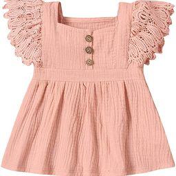 Blotona Baby Girl Dresses Newborn Cotton Linen Dress Lace Fly Sleeve Sundress Summer Dresses Clot...   Amazon (US)