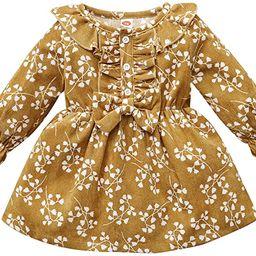 Karuedoo Kids Toddler Baby Girl Corduroy Ruffle Long Sleeve Dress Princess Party Dress with Headb...   Amazon (US)