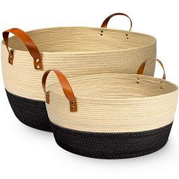 XL and Large Blanket Storage Baskets, 2pc Set – Luxury Palm Woven Basket with Durable Vegan Lea...   Amazon (US)