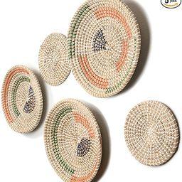 b.spoke Hanging Wall Basket Decor – Set of Five Handmade Decorative Boho Woven Wall Baskets - R...   Amazon (US)