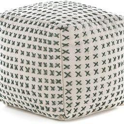 Christopher Knight Home Flanner Fabric Square Pouf Ottoman, Cream, Green   Amazon (US)