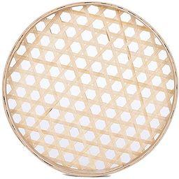 100% Handwoven Flat Wicker Round Fruit Basket Woven Food Storage Weaved Shallow Tray Organizer Ho...   Amazon (US)