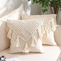 Throw Pillow Covers, Macrame Cushion Case, Woven Boho Cushion Cover for Bed Sofa Couch Bench Car ...   Amazon (US)