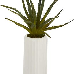 Nearly Natural 15in. Aloe Artificial Plant in White Planter, Green   Amazon (US)