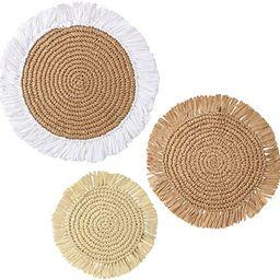 JIVANER Raffia wall baskets decor boho flat set of 3   Woven straw grass round wall hanging wall ...   Amazon (US)