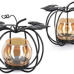 2 Pcs Pumpkin Glass Votive Candle Holders Home Decorative Tealight Candle Stands Coffee Table Cen...   Amazon (US)