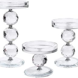 Crystal Pillar Candlestick Holder Set of 3 Clear Glass Candlestick Holder Ideal Centerpieces for ...   Amazon (US)