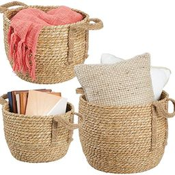 mDesign Round Woven Braided Rope Seagrass Home Storage Baskets, Jute Handles - for Organizing Clo...   Amazon (US)