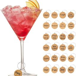 24 Pieces Wooden Glass Charms Glass Markers Drink Markers | Amazon (US)