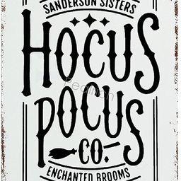 Tin Sign, Hocus Pocus,Enchanted Brooms,Sanderson Sisters Metal Sign Vintage Bar Home Wall Decor R... | Amazon (US)