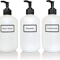 Artanis Home Silkscreened Empty Shower Bottle Set for Shampoo, Conditioner, and Body Wash, Squat ... | Amazon (US)