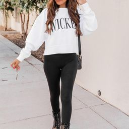 Wicked White Cropped Corded Graphic Sweatshirt | The Pink Lily Boutique