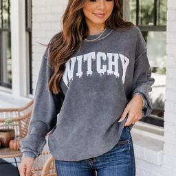 Witchy Varsity Charcoal Corded Graphic Sweatshirt | The Pink Lily Boutique
