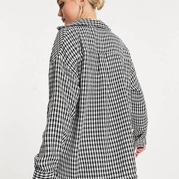 Pimkie check overshirt in black and white | ASOS (Global)