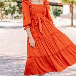 Feel Your Love Rust Orange Ruffled Midi Dress | The Mint Julep Boutique