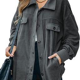 Astylish Womens Casual Coat Long Sleeve Shacket Shirt Jacket with Pockets   Amazon (US)