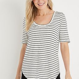 24/7 White Stripe Flawless Tunic Tee   Maurices