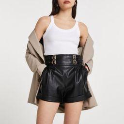 Black faux leather paper bag shorts | River Island (UK & IE)