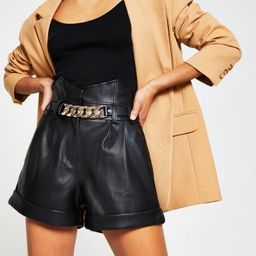 Black faux leather belted shorts | River Island (UK & IE)
