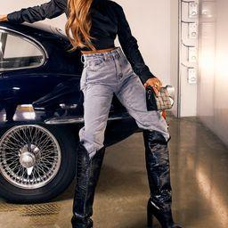 Leather Look Croc Print Block Heel Boots | Miss Pap UK