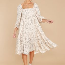 Beauty All Around Ivory Floral Midi Dress   Red Dress