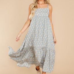Garden Scents Dusty Blue Floral Print Dress   Red Dress