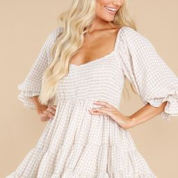 New Sights Light Taupe Gingham Dress   Red Dress
