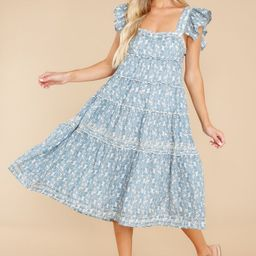 Always Promise Dusty Blue Floral Print Dress   Red Dress