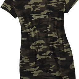 SheIn Women's Short Sleeve Camo Mini T-Shirt Dress Camouflage Round Neck Short Dress Tunic | Amazon (US)