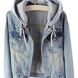 LifeShe Women's Casual Detachable Hoodie Denim Jacket | Amazon (US)