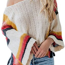 YeMgSiP Womens Oversized Striped Off The Shoulder Sweaters Bell Sleeve Side Slit Knit Fall Trendy... | Amazon (US)