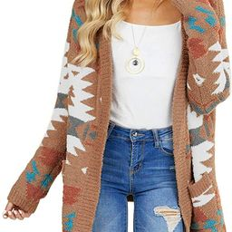 GOSOPIN Women Open Front Pocket Cardigan Sweater Long Sleeve Knit Coat | Amazon (US)