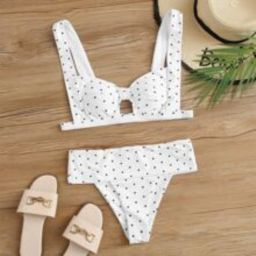 Polka Dot Knot Tanga Bikini Swimsuit   SHEIN