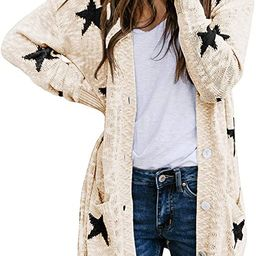 HAPCOPE Women's Star Print Button Down Knit Open Front Cardigan Sweaters with Pockets | Amazon (US)