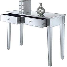 Convenience Concepts Gold Coast Mirrored Desk, Silver / Mirror | Amazon (US)